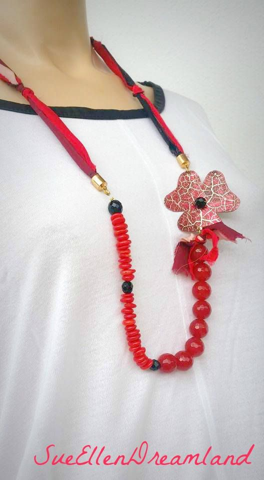 Sari silk ribbon long necklace silk strips red coral beads red