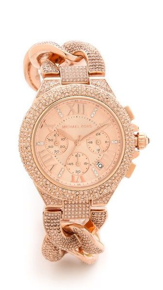 Michael Kors Glitz & Glamour Camille Watch. I never wear watches but I love the braided band and rose gold color