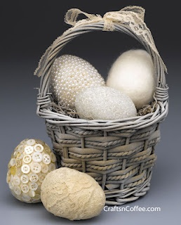 recycled button and lace Easter eggs