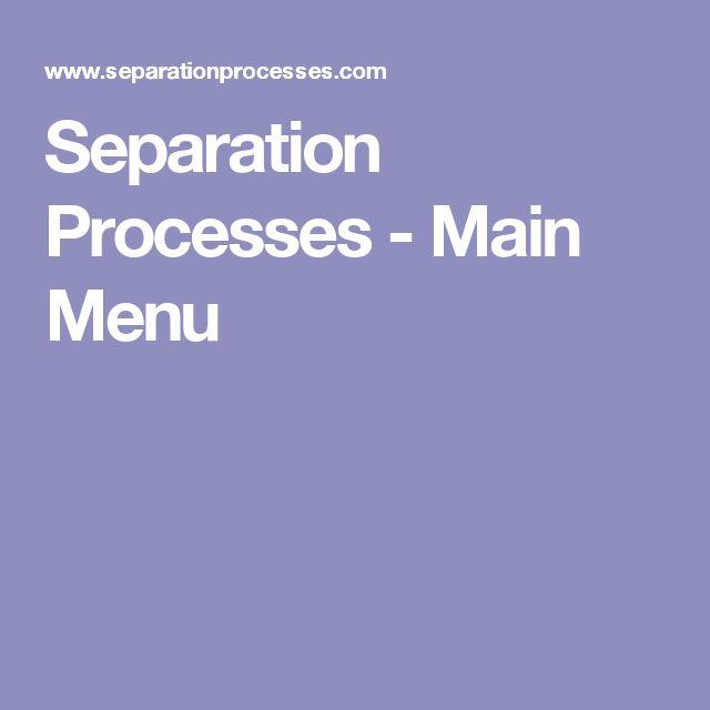 Separation Processes - Main Menu
