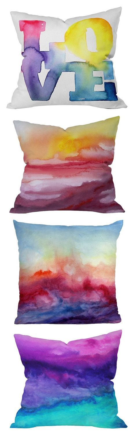 Sharpie DIY projects - I like the watercolor pillow idea Draw patterns with colored sharpie then spray with alcohol in a spray bottle