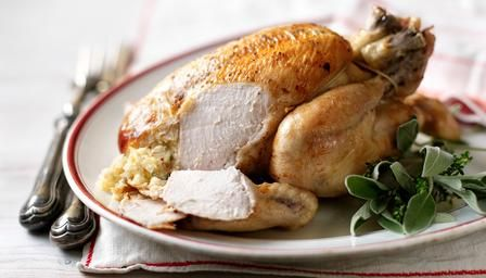 063014 gooseberries ~ Roast chicken and sage and onion stuffing and gooseberry sauce recipe from Hairy Bikers