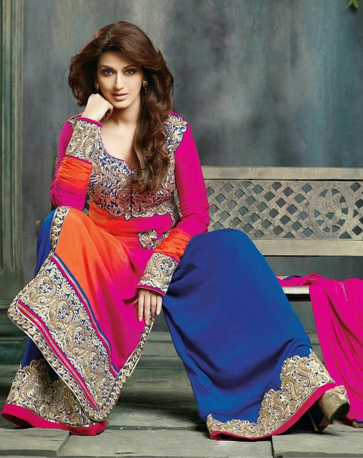 Sonali Bendre Orange & Pink Anarkali with Sarara
