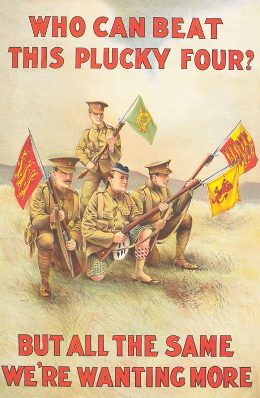 WWI Enlistment Poster:  Who Can Beat this Plucky Four? But All the Same We're Wanting More.