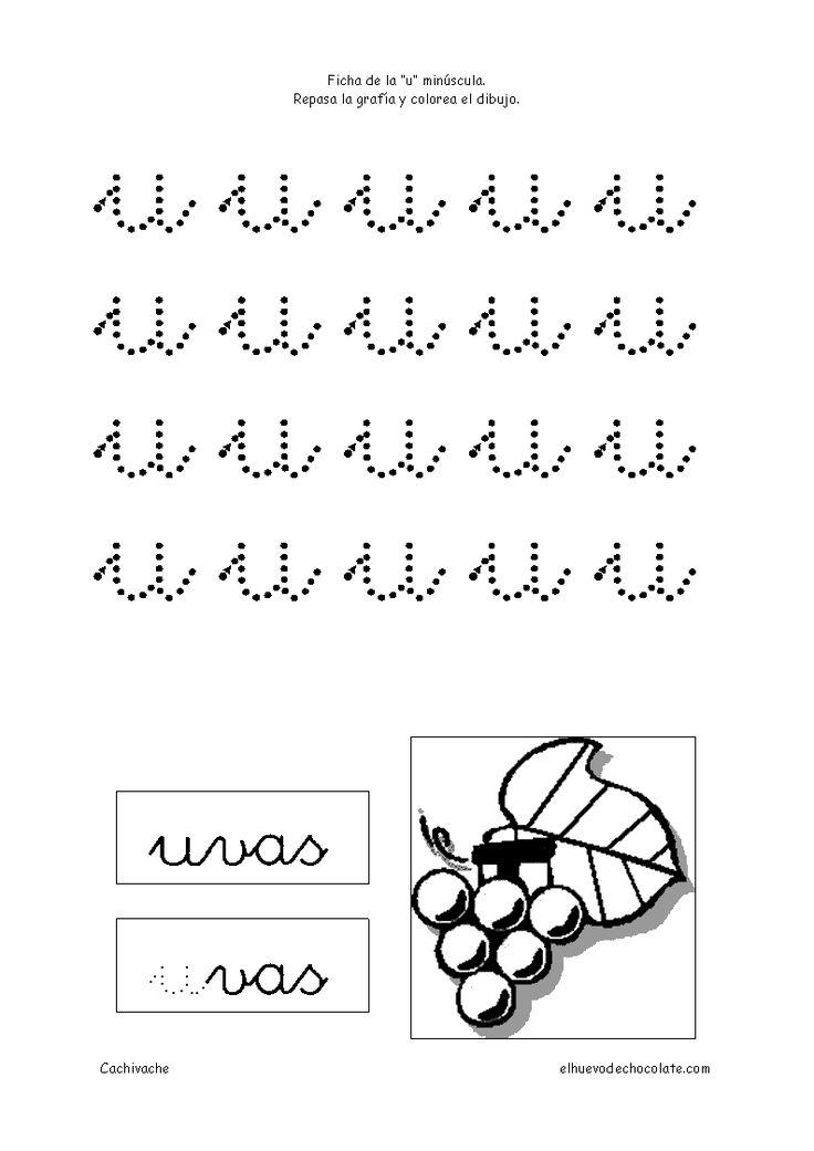 Letra u minúscula. Fichas de letras. Fichas educativas para niños de 3 a 5 años, clasificadas por temas. Cachivache, fichas para niños