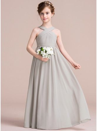 A Line Princess V Neck Floor Length Chiffon Junior Bridesmaid Dress With
