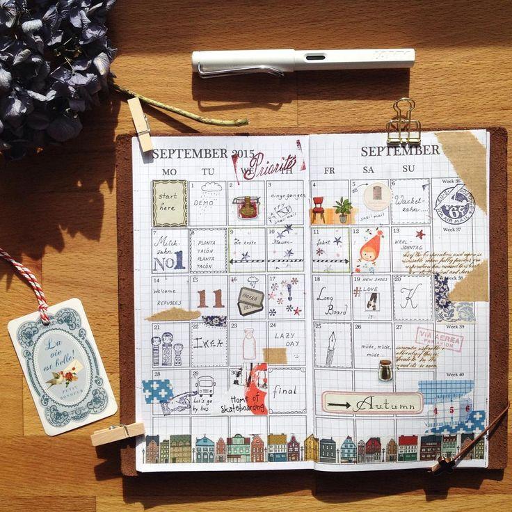 """〰Month of September 2015〰  #midoritravelersnotebook #travelersnotebook #midorilove #planner #artjournal #journal #scrapbook #autumnsun #onthetable #midori"""