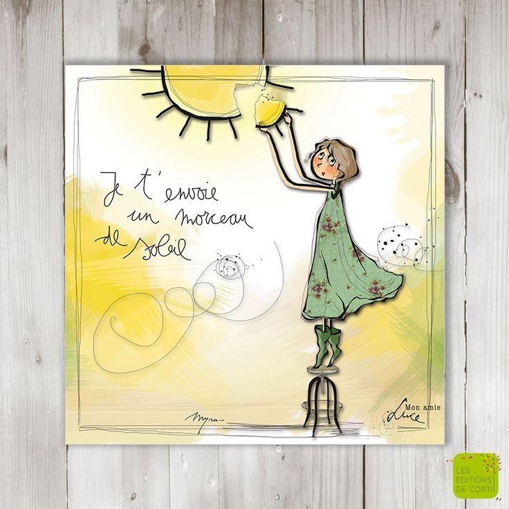 Je t'envoie un morceau de soleil - Carte postale illustrée par Myra Vienne - www.editionsdecortil.com