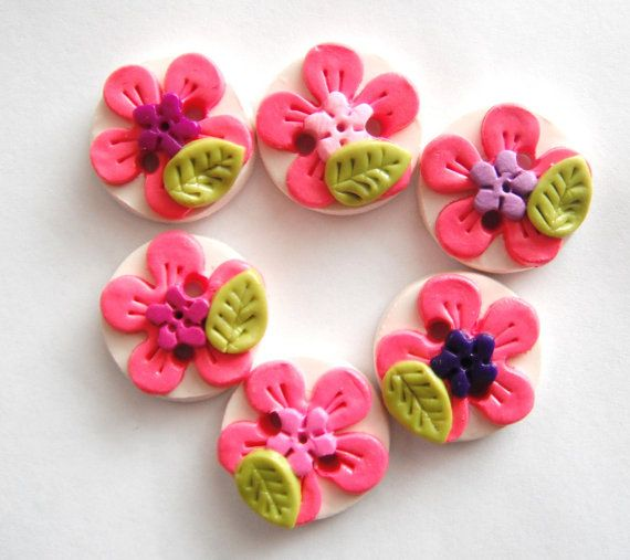 Button Tropical Flowers handmade polymer clay by digitsdesigns, $8.50
