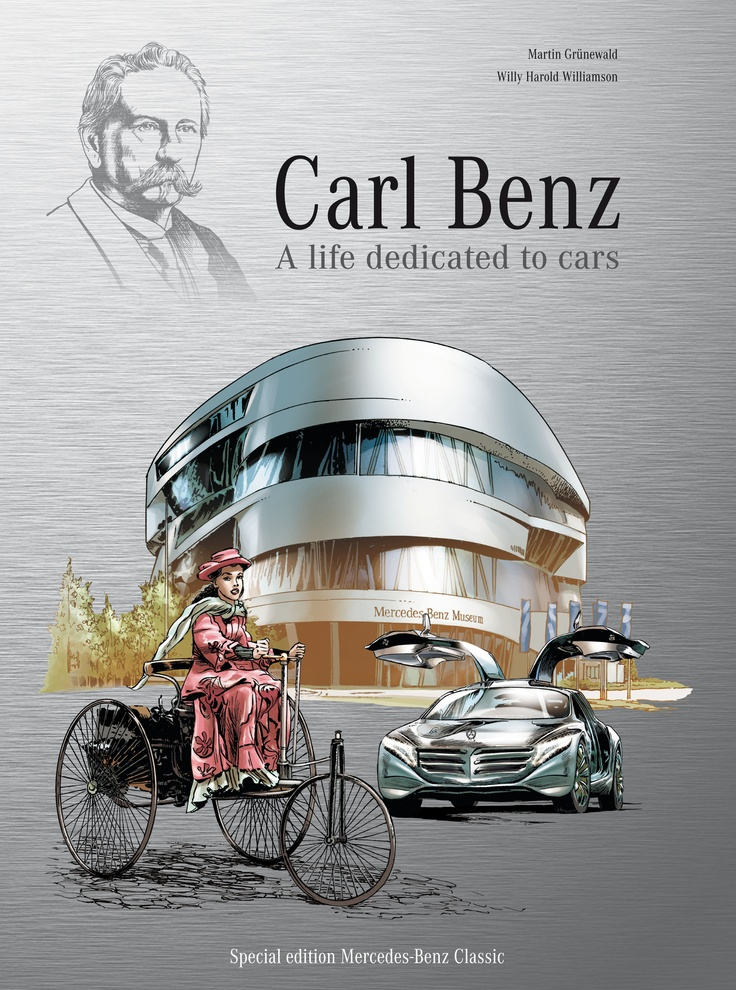 """""""Carl Benz – A life dedicated to cars"""" - Over 52 pages, the comic book illustrates the most important milestones in the life of Carl Benz. Its memorable images tell of the many hurdles and vicissitudes faced over the course of his life by Carl Benz, the man who would determine the birthday of the automobile when he registered the patent for his three-wheeler motor car on 29 January 1886.    Comic-strip artist: Willy Harold Williamson  Author: Martin Grünewald  Published by Sadifa Media"""