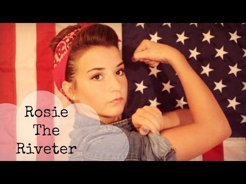 Rosie The Riveter Makeup, Hair and Outfit : Halloween Tutorial - YouTube                                                                                                                                                                                 More