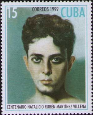 Cuba stamp, 1999, of Ruben Martinez Villena, writer and revolutionary. One of the influential members of the Grupo Minorista, (and whom Lindsay Buckingham of Fleetwood Mac has similar features).  AM