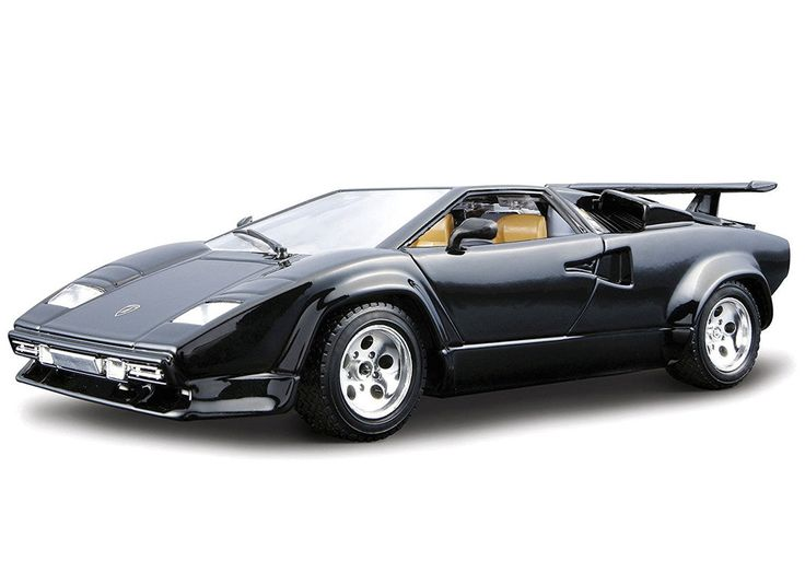 Bburago 1:24 Lamborghini Countach Diecast Model Car Kit 18-25037 This Lamborghini Countach Diecast Model Car Kit is Black and features working wheels and also opening bonnet with engine, doors. This model kit made by Bburago requires assembly and is 1:24 scale (approx. 17cm / 6.7in long). Easy to assemble, ready-painted kit of Lambo's first proper supercar. #Bburago #ModelCar #Lamborghini #MiniModelCars