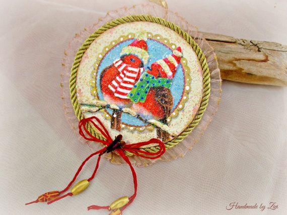 adornos arbol navidad decoupage vintage decoracin navidad decoracin rbol adorno pjaros adornos