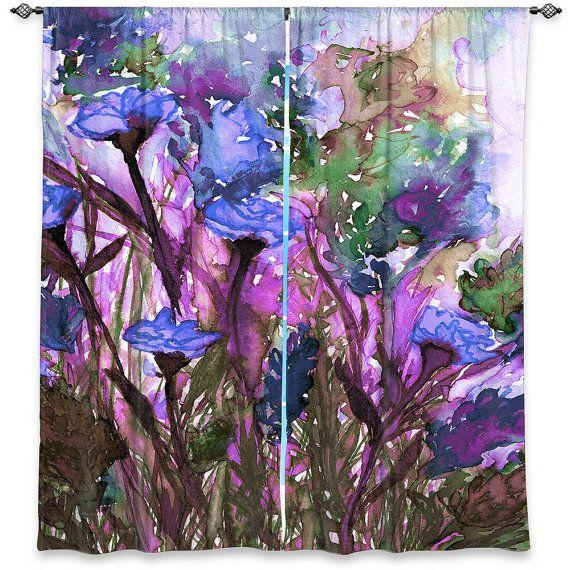 FLORAL INSURGENCE 5 Lavender Purple Violet Olive Green Flowers Art Window Curtains by EbiEmporium