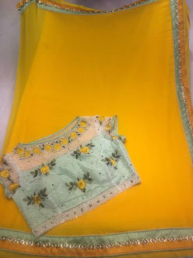 Pure Chiffon with Designer Blouse   CityFashions   Buy Online   City Fashions