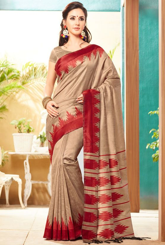 Khaki Jute Silk Saree with Double Blouse