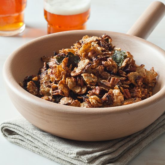 This munchable snack mix combines rice flake cereal and pecans with Asian flavors of nori, miso and wasabi.