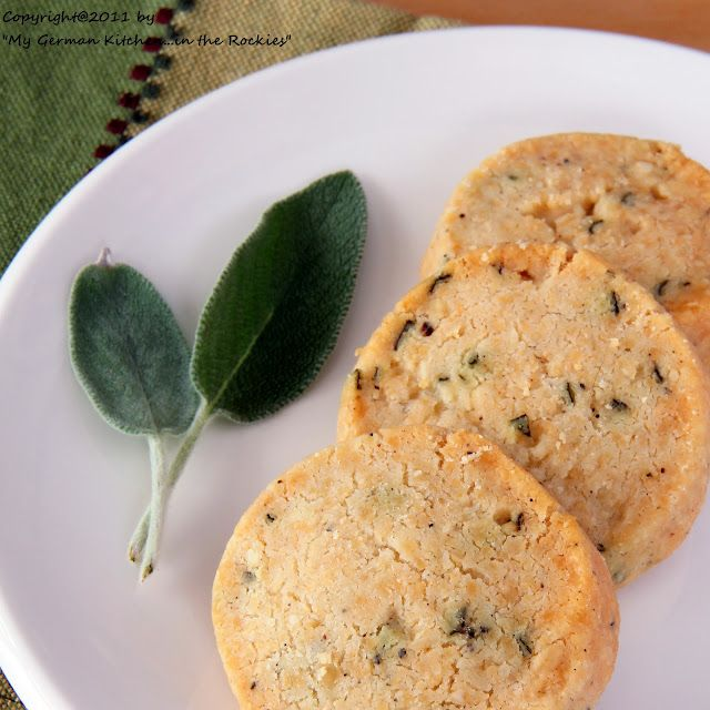 Savory Sage-Parmesan Sables  Sables are French butter cookies form the northern part of France. They are usually citrus flavored and also go very well with a marmalade coating. Here the sables are turned into a savory treat through the addition of Parmesan cheese and fresh sage.