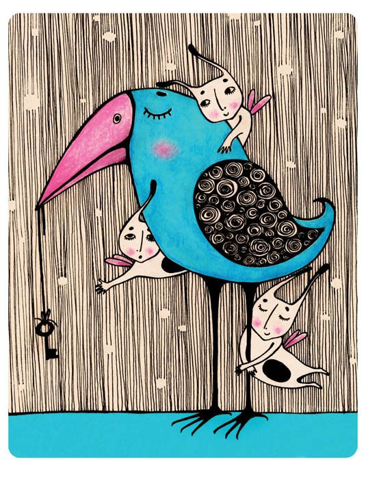 Просмотреть иллюстрацию синяя птица из сообщества русскоязычных художников автора isinoe в стилях: Детский, нарисованная техниками: Акварель | Тушь.