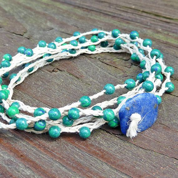 Peacock Green Bracelet  Natural Hemp Wrap by ElectricPenguin, $15.00