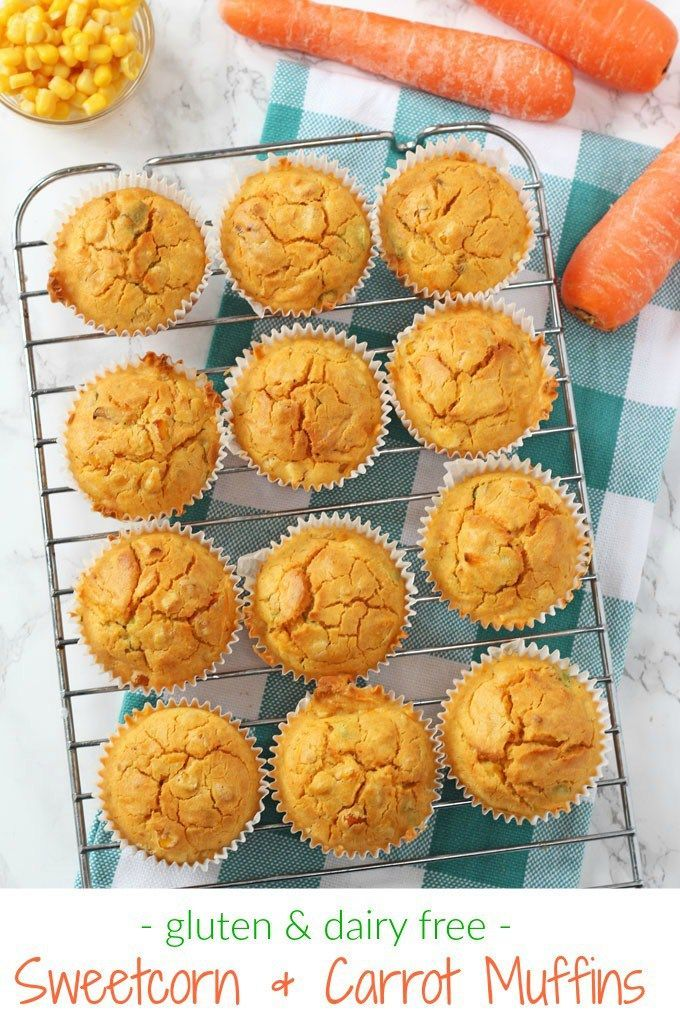 Delicious gluten and dairy free savoury muffins packed with sweetcorn and carrots. Perfect for lunch boxes or to take out on a picnic!