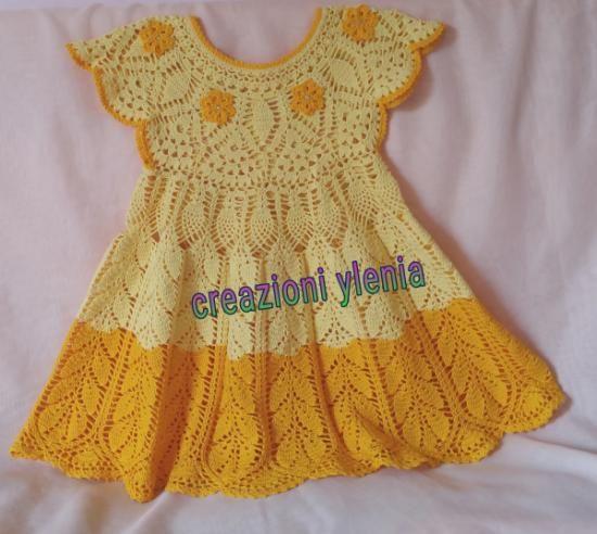 abito uncinetto personalizzabile 3 nni abitino uncinetto cotone filo di scozia,strass uncinetto