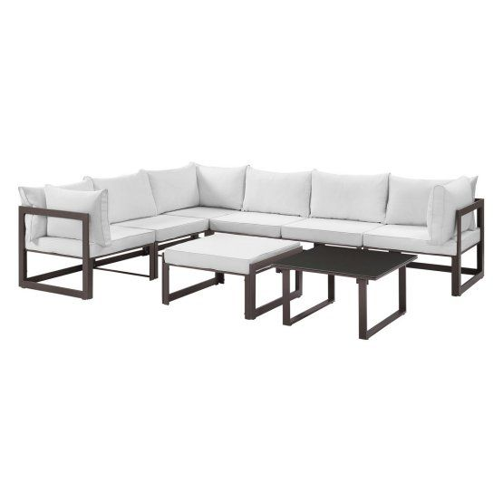 Modway Fortuna 8 Piece Poolside Aluminum Patio Sectional Sofa Set