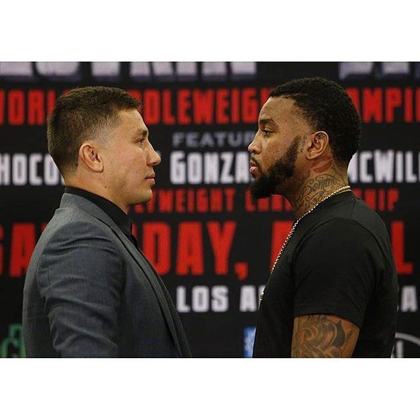 Gennady Golovkin and Dominic Wade Face-off at the press conference ahead of their highly anticipated bout taking place at the Forum in Los Angeles CA. On April 23rd.