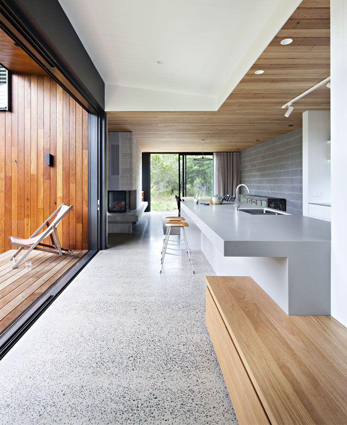 House With Sculptured Kitchen Island Trendy Terrazzo Floors