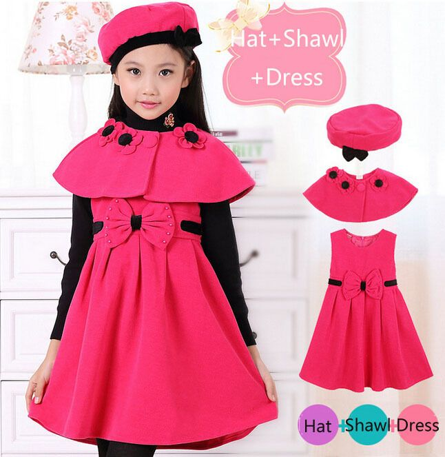 Children Winter Clothes Girls Woolen Cotton Dress Princess Bow Woolen Dress Girl Party Dress Sets Girl Costume Kids Winter Sets-in Dresses from Mother & Kids on Aliexpress.com | Alibaba Group