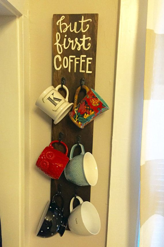 17 best ideas about coffee mug holder on pinterest for Coffee rack diy