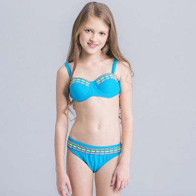 936d8d0da9 Children's Swimwear Solid Color Sexy Bikini Associate With Tube Two-piece  Female Swimwear | Import-express.com