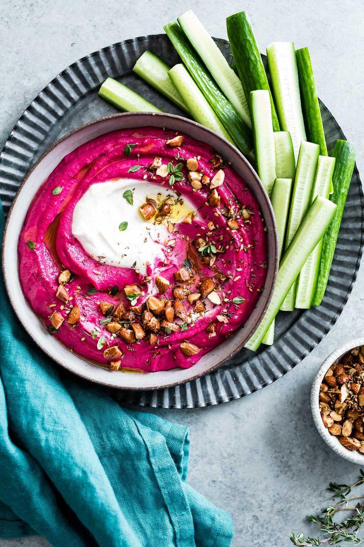 Beet Cashew Hummus with Garlic Yogurt Tahini Swirl