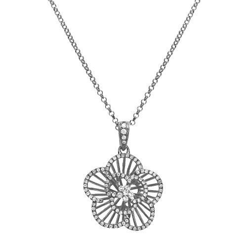 """Sterling Silver Rhodium Plated Cubic Zirconia Flower Pendant Necklace, 18"""" Amazon Curated Collection. $70.35. Made in China"""
