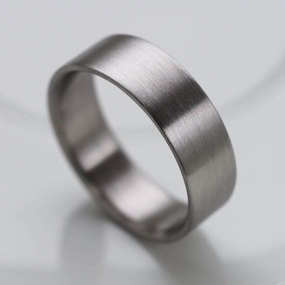 Wide Comfort Fit Men's Wedding Band 7mm x 1.5 mm - Modern, Simple, Minimal - White Metal - Matte Finish