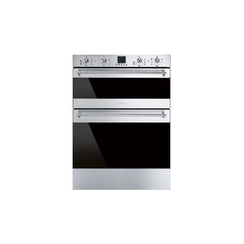 Smeg DUSF636X Classic Dark Glass Double Under Counter Multifunction Oven Stainless Steel