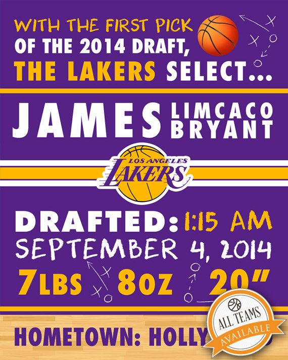nba los angeles lakers birth announcement by faithfamilyfundesign
