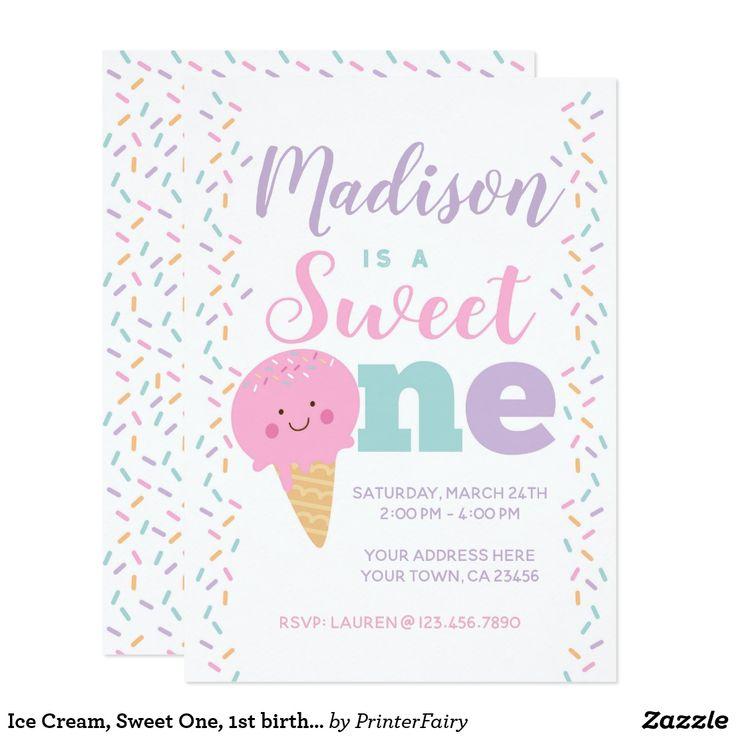 Eiscreme, süßes, 1. Geburtstags-Einladung. #Anzeige #Geburtstagseinladung   – Birthday Themes