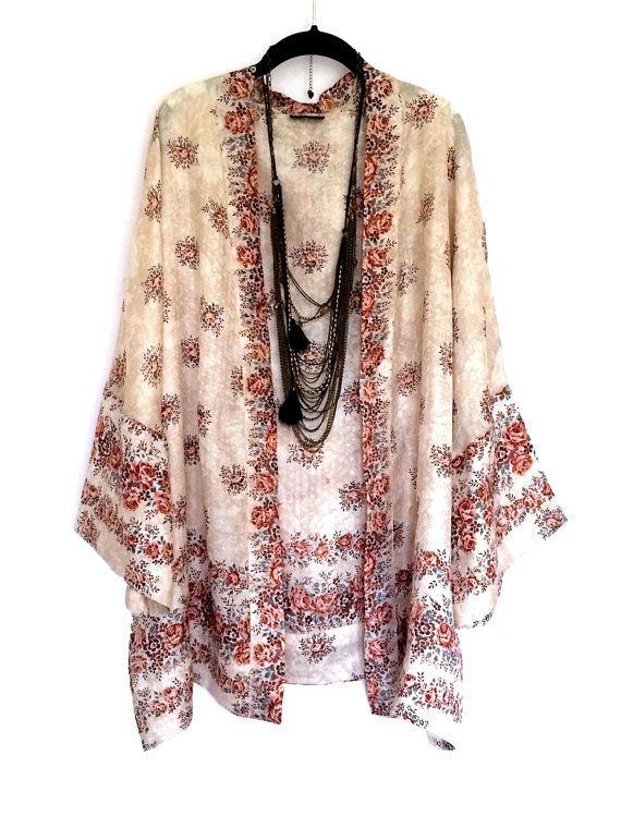 Silk Kimono jacket / cover up / bed jacket cream and by Bibiluxe, £75.00