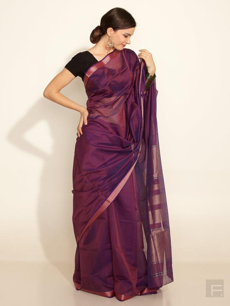 FabIndia // Silk Cotton Maheswari Woven Band Sari