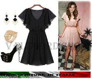 Abito corto mini abito CHIFFON rosa o nero. Stile Lolita... romantico... bellissimo! Tg. unica che veste S.  Prezzo? ... 13 euro!!! ^_^