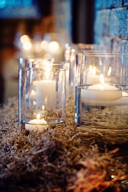 I like how the candles are on a bed of ? Ticking and Toile: ~burlap, lace & babys breath tablesetting~