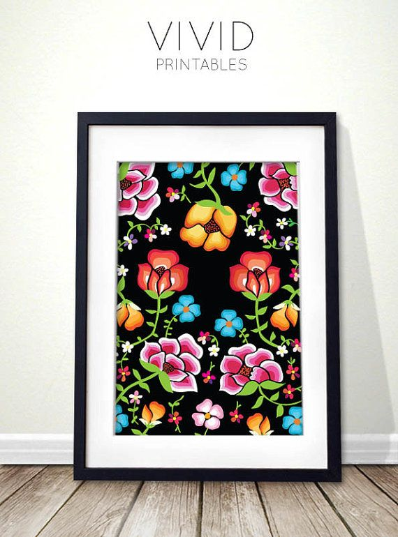 Mexican embroidery inspired floral DIY art by VividPrintables, $5.00 via Etsy