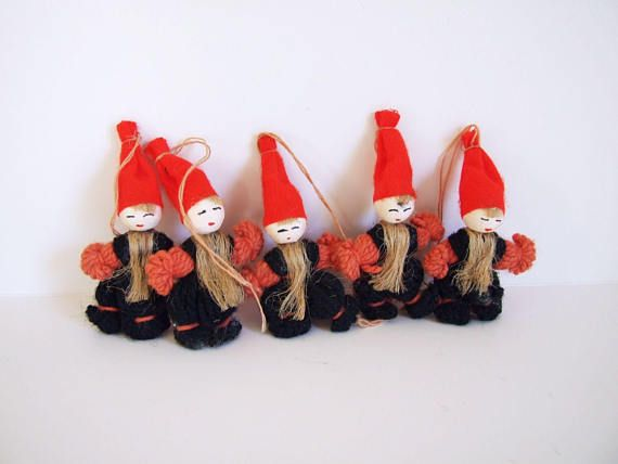 Set of five Vintage Swedish Christmas ornaments // Swedish