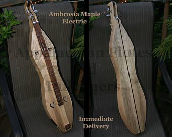 Mountain Dulcimer, Ambrosia Curly Maple, 4-string Hour-glass, with 2-band Electric -    Edit Listing  - Etsy