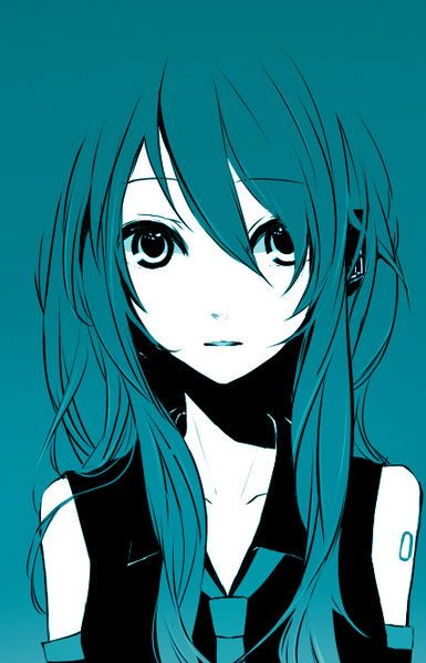 I really like this stylized picture of Hatsune Miku from Vocaloid.