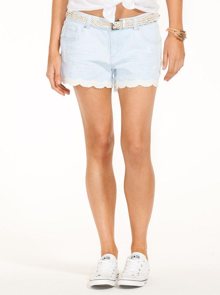 Lace Hem Denim Short   Just Jeans
