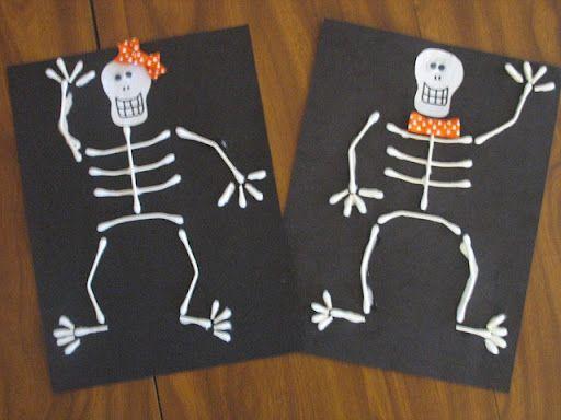 preschool crafts for kids halloween q tip skeleton craft - Halloween Preschool Ideas
