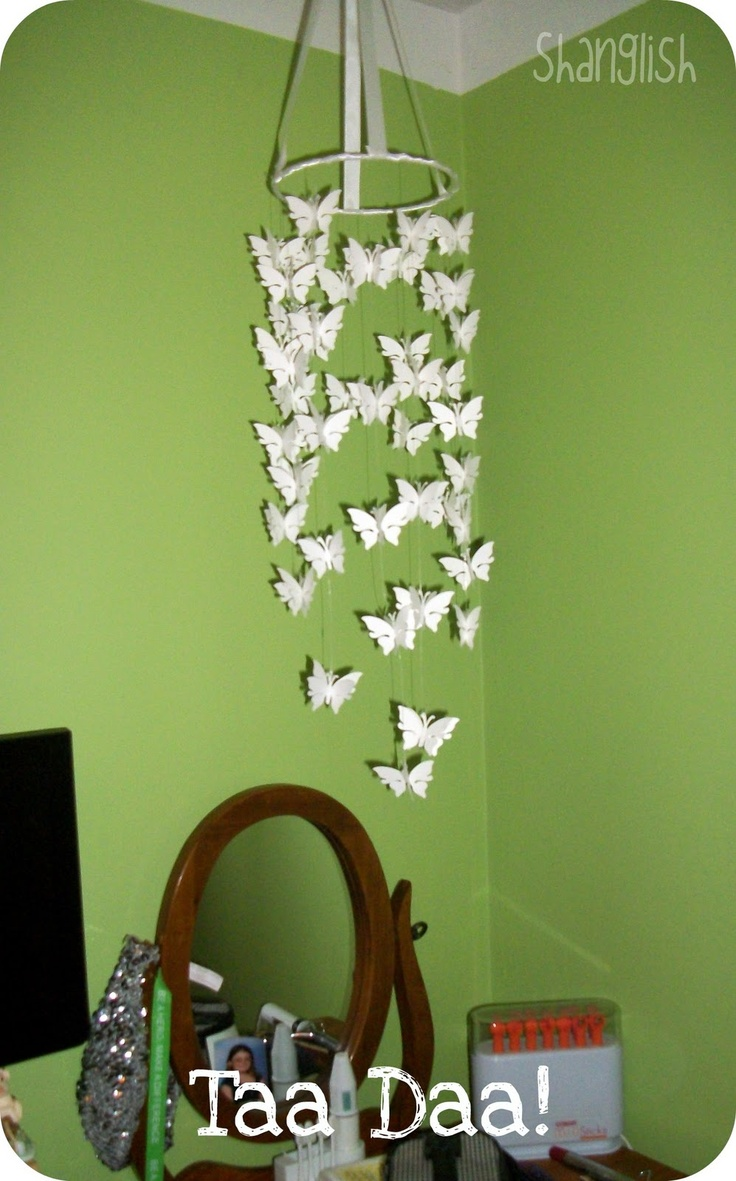 Diy butterfly mobile butterfly chandelier mobile - So Easy Mobile Tutorial Using Cricut Could Make This Any Shape Diy Butterflybutterfly